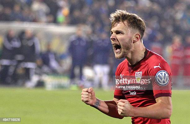Alexandru Maxim of Stuttgart celebrates the second goal during the DFB Cup between FC Carl Zeiss Jena and VFB Stuttgart at ErnstAbbeSportfeld on...
