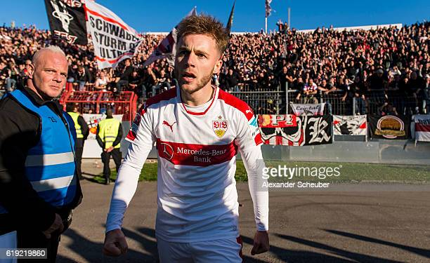 Alexandru Maxim of Stuttgart celebrates the third goal for his team during the Second Bundesliga match between Karlsruher SC and VfB Stuttgart at...