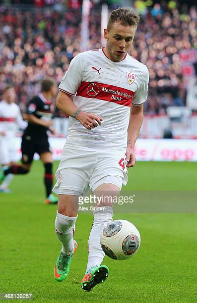 Alexandru Maxim of Stuttgart controles the ball during the Bundesliga match between VfB Stuttgart and FC Augsburg at MercedesBenz Arena on February 9...