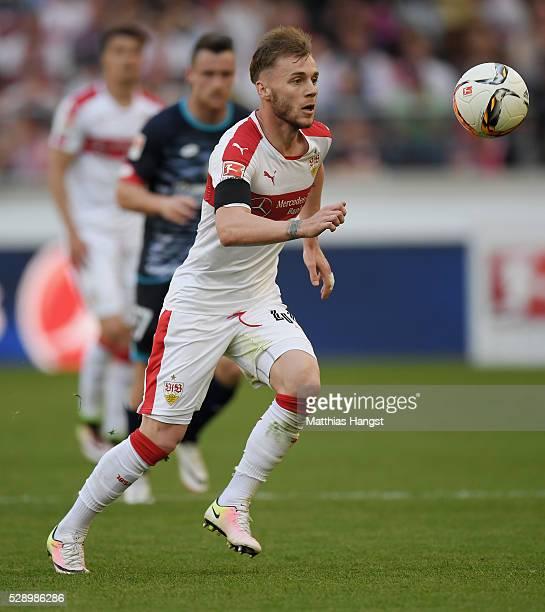 Alexandru Maxim of Stuttgart controls the ball during the Bundesliga match between VfB Stuttgart and 1 FSV Mainz 05 at MercedesBenz Arena on May 7...