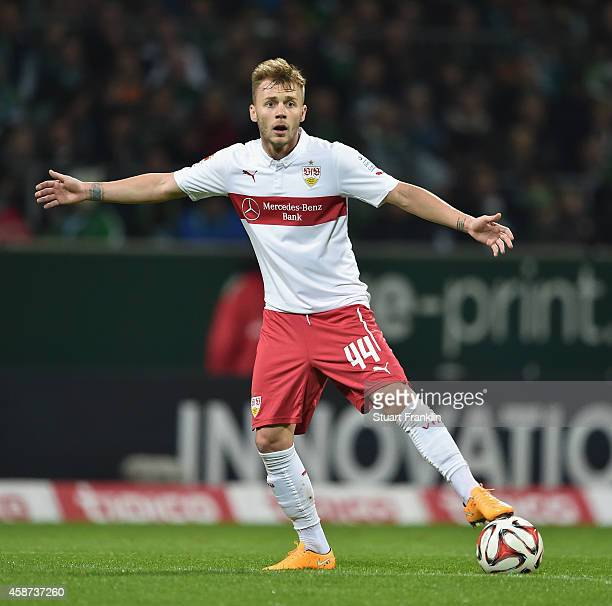 Alexandru Maxim of Stuttgart in action during the Bundesliga match between SV Werder Bremen and VfB Stuttgart at Weserstadion on November 8 2014 in...