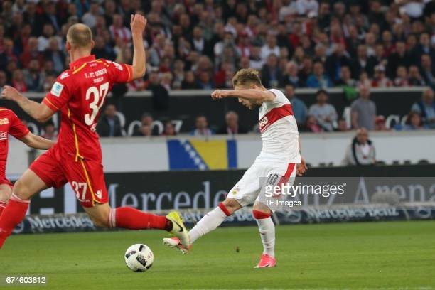 Alexandru Maxim of Stuttgart in action during the Second Bundesliga match between VfB Stuttgart and 1 FC Union Berlin at MercedesBenz Arena on April...