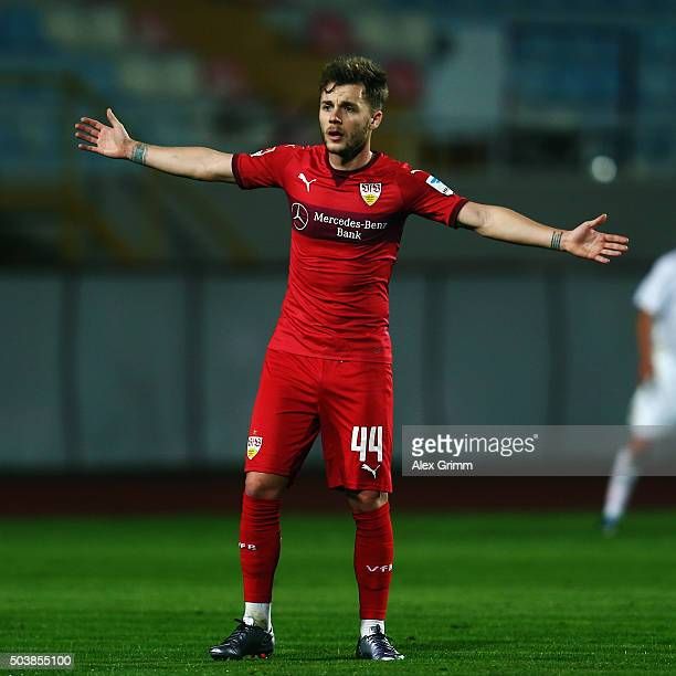 Alexandru Maxim of Stuttgart reacts during a friendly match between VfB Stuttgart and Antalyaspor at Akdeniz Universitesi on January 7 2016 in...