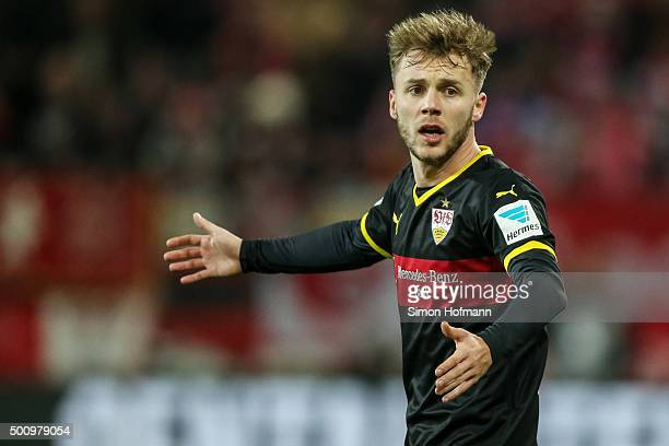 Alexandru Maxim of Stuttgart reacts during the Bundesliga match between 1 FSV Mainz 05 and VfB Stuttgart at Coface Arena on December 11 2015 in Mainz...