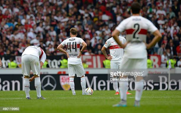 Alexandru Maxim of Stuttgart reacts during the Bundesliga match between VfB Stuttgart and Borussia Moenchengladbach at MercedesBenz Arena on...