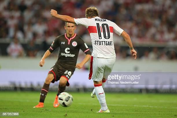 Alexandru Maxim of Stuttgart scores during the Second Bundesliga match between VfB Stuttgart and FC St Pauli at MercedesBenz Arena on August 8 2016...