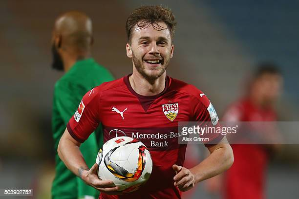Alexandru Maxim of Stuttgart smiles during a friendly match between VfB Stuttgart and Antalyaspor at Akdeniz Universitesi on January 7 2016 in...