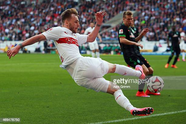Alexandru Maxim of Stuttgart tries to controle the ball during the Bundesliga match between VfB Stuttgart and SV Werder Bremen at MercedesBenz Arena...