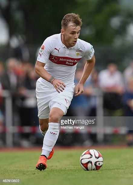 Alexandru Maxim of VfB Stuttgart controls the ball during the friendly match between VfB Stuttgart and FC Getafe at Stadion Sportzentrum Weinstadt on...