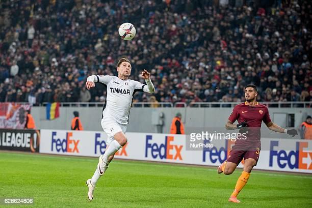 Alexandru Stan of FC Astra Giurgiu and Emerson Palmieri of AS Roma during the UEFA Europa League 20162017 Group E game between FC Astra Giurgiu and...
