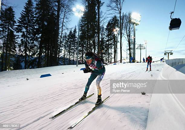 Alexei Almoukov of Australia competes during the Men's 20km Indvidual Biathlon during day six of the Sochi 2014 Winter Olympics at Laura Crosscountry...