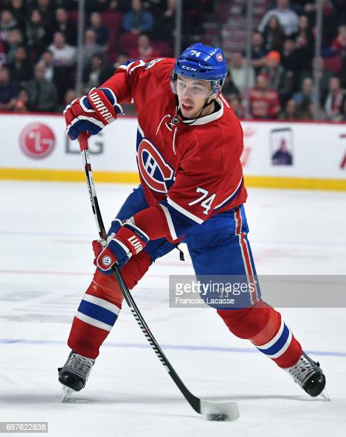 Alexei Emelin of the Montreal Canadiens fires a slap shot against the Detroit Red Wings in the NHL game at the Bell Centre on March 21 2017 in...