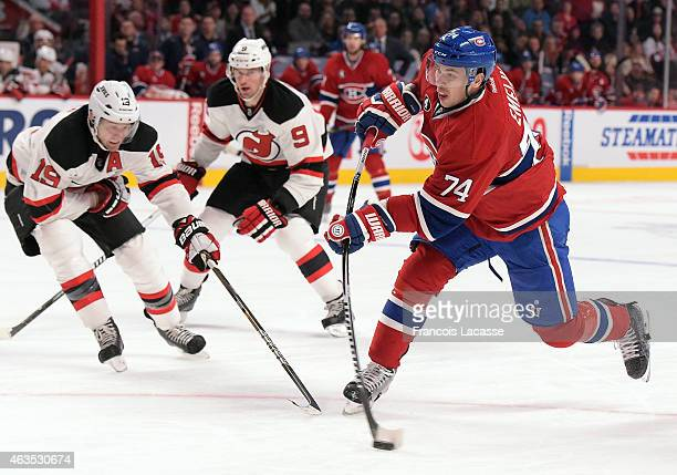 Alexei Emelin of the Montreal Canadiens fires a slapshot against the New Jersey Devils in the NHL game at the Bell Centre on February 7 2015 in...