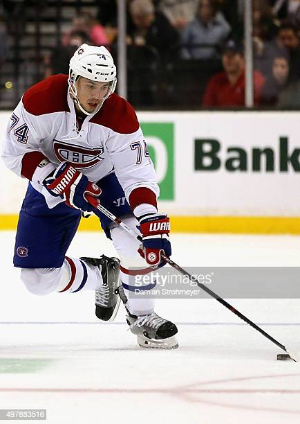 Alexei Emelin of the Montreal Canadiens plays in the game against the Boston Bruins at TD Garden on October 10 2015 in Boston Massachusetts