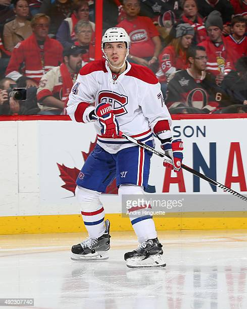 Alexei Emelin of the Montreal Canadiens skates against the Ottawa Senators at Canadian Tire Centre on October 11 2015 in Ottawa Ontario Canada