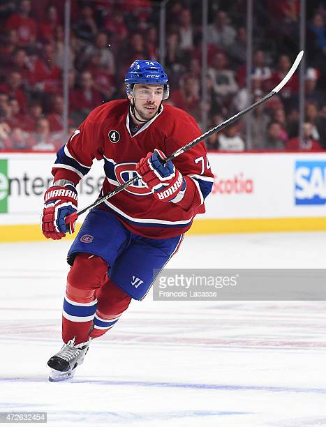 Alexei Emelin of the Montreal Canadiens skates against the Tampa Bay Lightning in Game Five of the Eastern Conference Semifinals during the 2015 NHL...