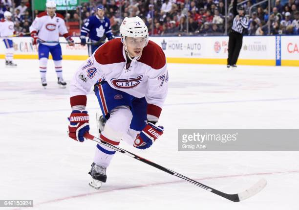 Alexei Emelin of the Montreal Canadiens skates against the Toronto Maple Leafsn during the third period at the Air Canada Centre on February 25 2017...