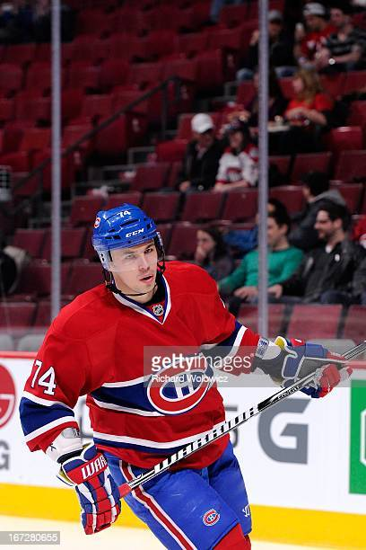 Alexei Emelin of the Montreal Canadiens skates during the warm up period prior to facing the Winnipeg Jets in their NHL game at the Bell Centre on...