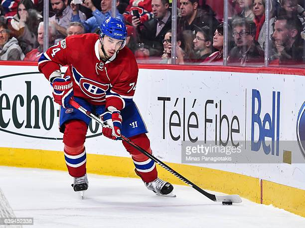 Alexei Emelin of the Montreal Canadiens skates the puck during the NHL game against the Pittsburgh Penguins at the Bell Centre on January 18 2017 in...