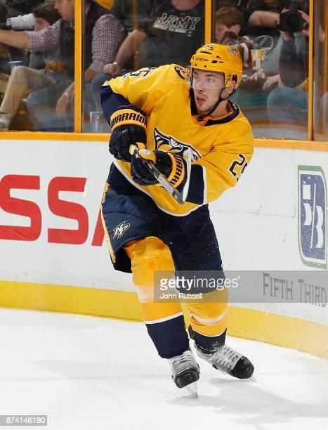 Alexei Emelin of the Nashville Predators skates against the Pittsburgh Penguins during an NHL game at Bridgestone Arena on November 11 2017 in...