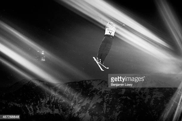 Alexei Grishin of Belarus practices ahead of the Freestyle Skiing Men's Aerials Qualification on day ten of the 2014 Winter Olympics at Rosa Khutor...