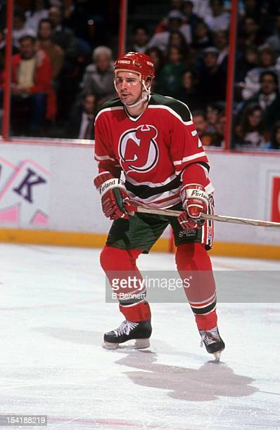 Alexei Kasatonov of the New Jersey Devils skates on the ice during an NHL game against the Philadelphia Flyers on December 20 1990 at the Spectrum in...