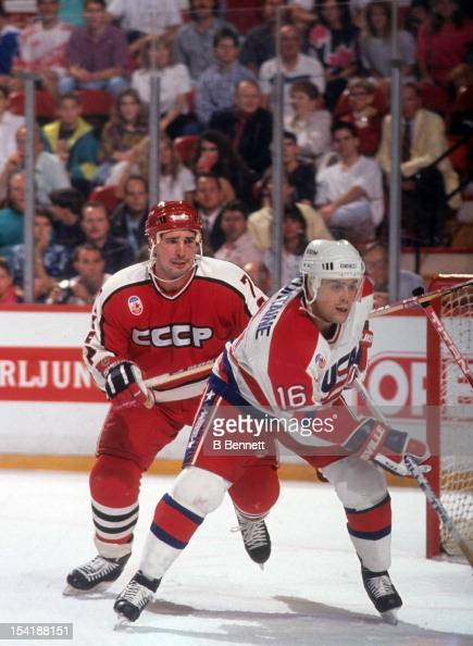 Alexei Kasatonov of the Soviet Union looks to check Pat Lafontaine of the United States during the 1991 Canada Cup on September 7 1991 in Canada