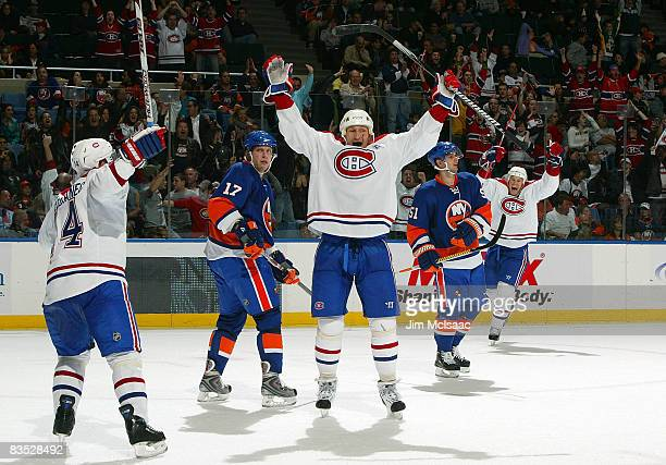 Alexei Kovalev of the Montreal Canadiens celebrates his third period game winning goal against the New York Islanders on November 1 2008 at Nassau...