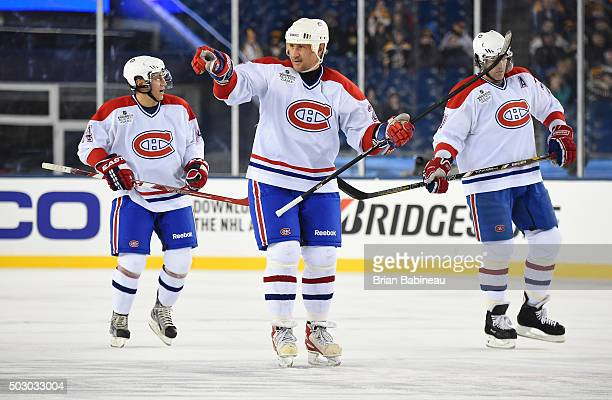 Alexei Kovalev of the Montreal Canadiens reacts after scoring a goal in the first period during the Alumni Game as part of the 2016 Bridgestone NHL...