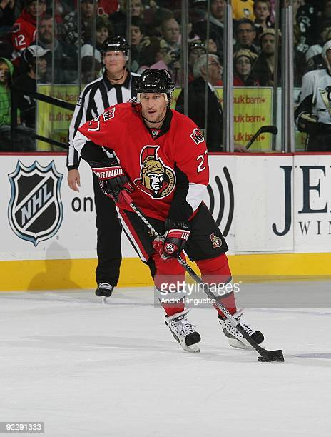 Alexei Kovalev of the Ottawa Senators stickhandles the puck against against the Pittsburgh Penguins at Scotiabank Place on October 12 2009 in Ottawa...