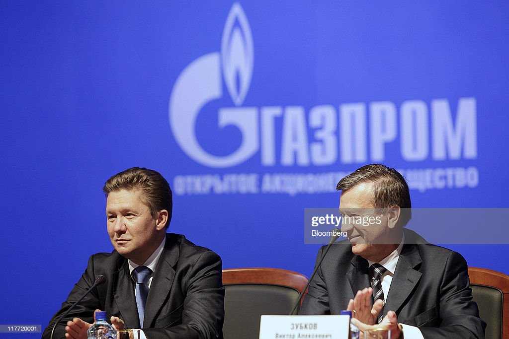 <a gi-track='captionPersonalityLinkClicked' href=/galleries/search?phrase=Alexei+Miller&family=editorial&specificpeople=713081 ng-click='$event.stopPropagation()'>Alexei Miller</a>, chief executive officer of OAO Gazprom, left, and Viktor Zubkov, chairman of the OAO Gazprom board and Russia's first deputy prime minister, smile during the press conference after company's annual general meeting of shareholders in Moscow, Russia, on Thursday, June 30, 2011. OAO Gazprom, Russia's gas export monopoly, will increase spending by 52 percent more than previously planned this year after unrest in the Middle East and the Japanese earthquake raised spot prices and European demand for pipeline supplies. Photographer: Alexander Zemlianichenko Jr./Bloomberg via Getty Images