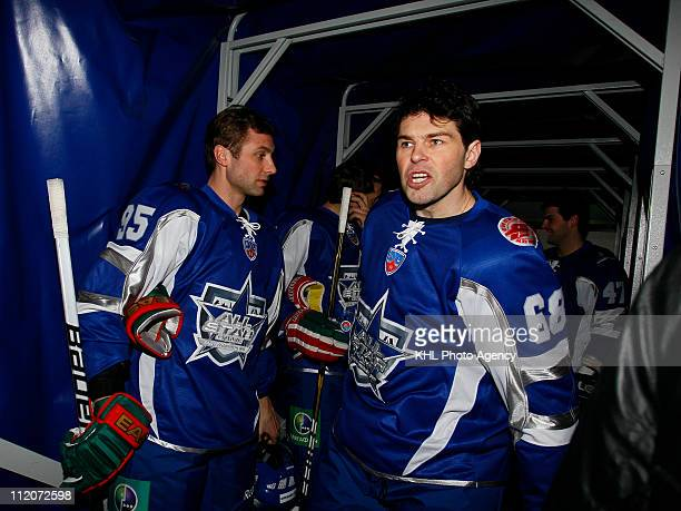 Alexei Morozov of the Jagr team and Jaromir Jagr captain of the Jagr team are seen before the KHL All Star Game on February 05 2011 at the Ice Palace...
