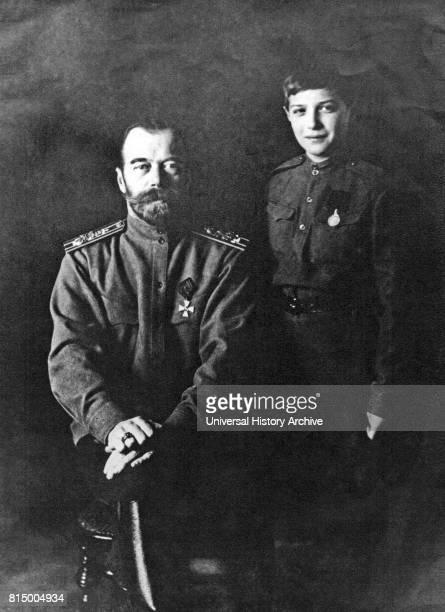 Alexei Nikolayevich with his father Tsar Nicholas II in World War One 1916