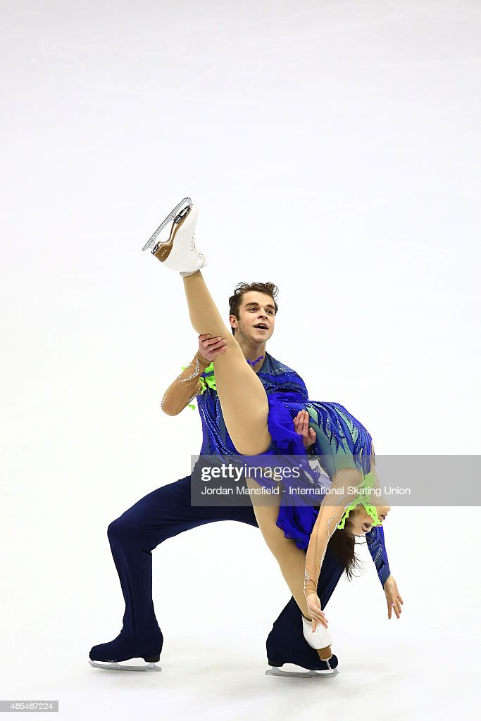 Alexei Olejnik and Valeria Gaistruk of Ukraine perform during the Ice Dance Free Dance on Day 4 of the ISU World Junior Figure Skating Championships at Tondiraba Ice Arena on March 7, 2015 in Tallinn, Estonia.