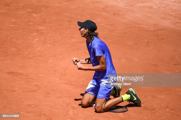Alexei Popyrin of Australie celebrates his victory during the day 14 of the French Open at Roland Garros on June 10 2017 in Paris France