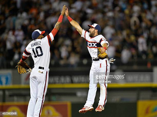 Alexei Ramirez and Adam Eaton of the Chicago White Sox celebrate their win over the Houston Astros at US Cellular Field on July 18 2014 in Chicago...