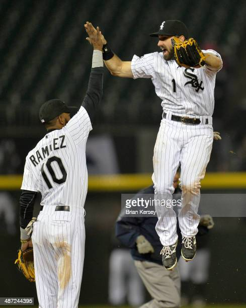 Alexei Ramirez and Adam Eaton of the Chicago White Sox celebrate their win over the Tampa Bay Rays at US Cellular Field on April 28 2014 in Chicago...