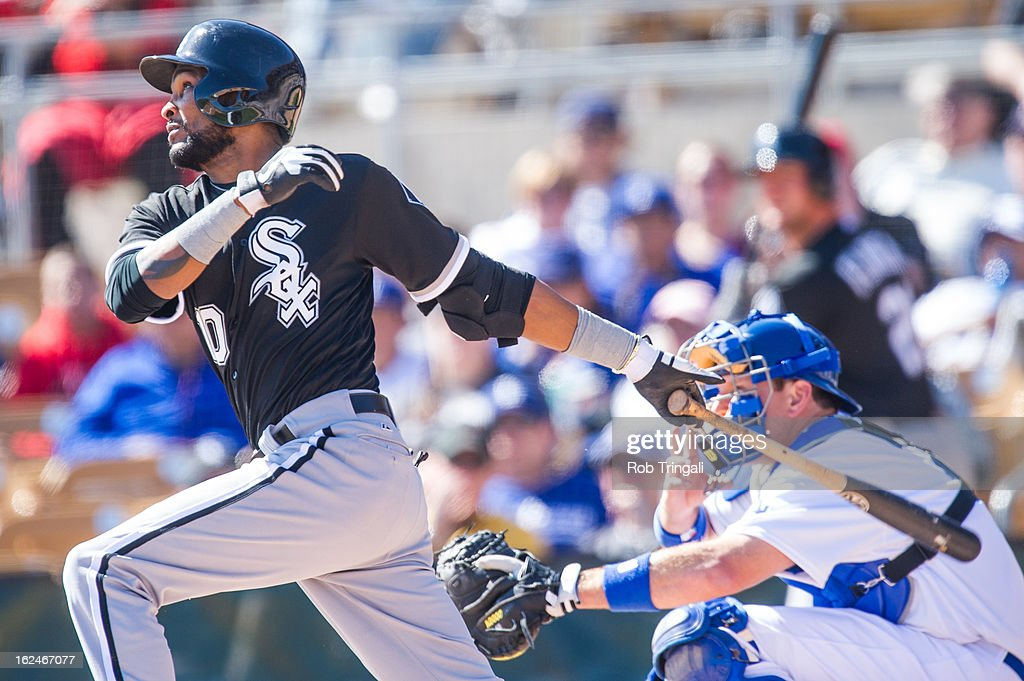 Alexei Ramirez #10 of the Chicago White Sox bats during a spring training game against the Los Angeles Dodgers at Camelback Ranch on February 23, 2013 in Glendale, Arizona.