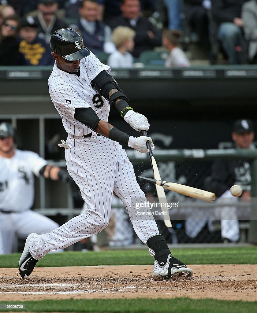 <a gi-track='captionPersonalityLinkClicked' href=/galleries/search?phrase=Alexei+Ramirez&family=editorial&specificpeople=690568 ng-click='$event.stopPropagation()'>Alexei Ramirez</a> #9 of the Chicago White Sox breaks his bat in the 5th inning against the Minnesota Twins during the White Sox home opener at U.S. Cellular Field on April 10, 2015 in Chicago, Illinois.