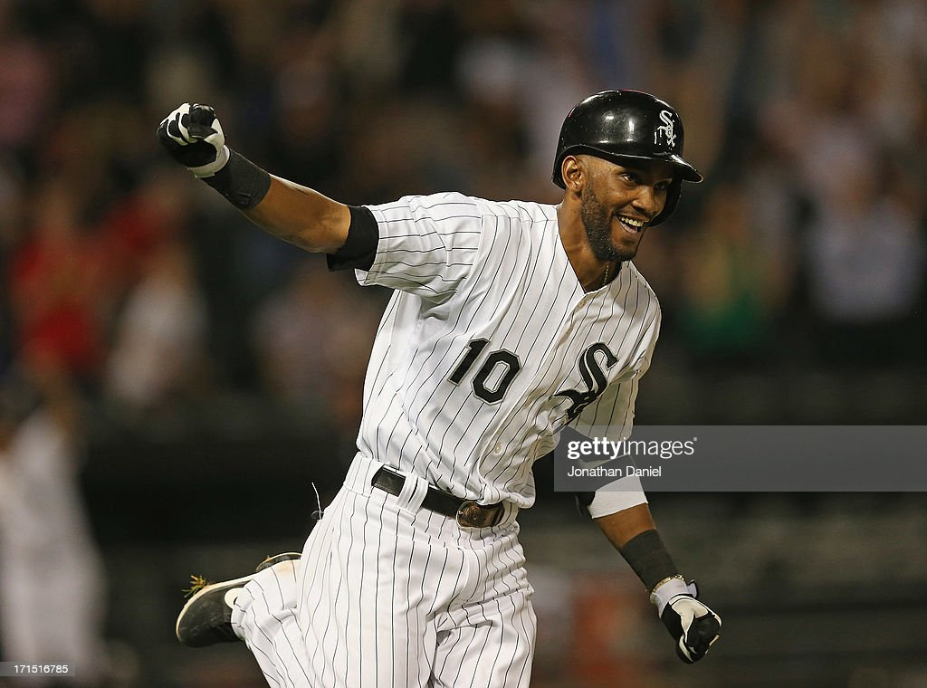 <a gi-track='captionPersonalityLinkClicked' href=/galleries/search?phrase=Alexei+Ramirez&family=editorial&specificpeople=690568 ng-click='$event.stopPropagation()'>Alexei Ramirez</a> #10 of the Chicago White Sox celebrates after getting the game-winning hit in the bottom of the 9th inning against the New York Mets at U.S. Cellular Field on June 25, 2013 in Chicago, Illinois. The White Sox defeated the Mets 5-4.