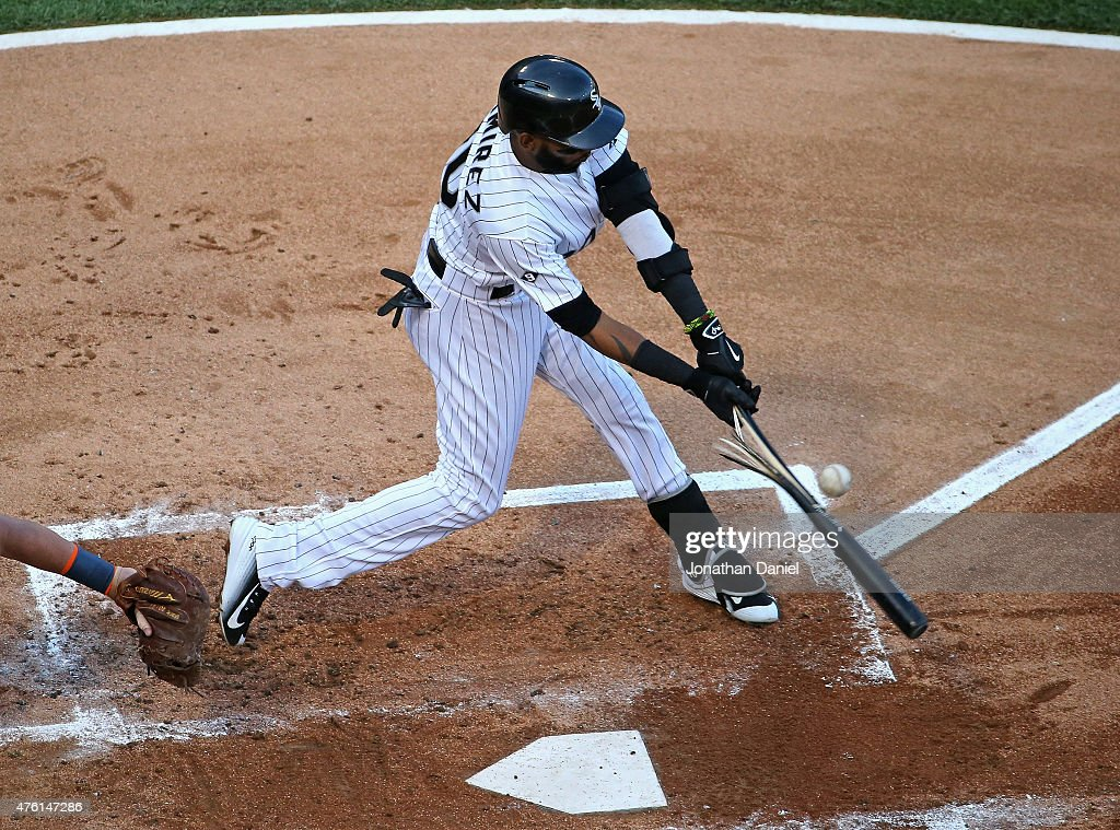 <a gi-track='captionPersonalityLinkClicked' href=/galleries/search?phrase=Alexei+Ramirez&family=editorial&specificpeople=690568 ng-click='$event.stopPropagation()'>Alexei Ramirez</a> #10 of the Chicago White Sox hits a broken bat single in the 1st inning against the Detroit Tigers at U.S. Cellular Field on June 5, 2015 in Chicago, Illinois.