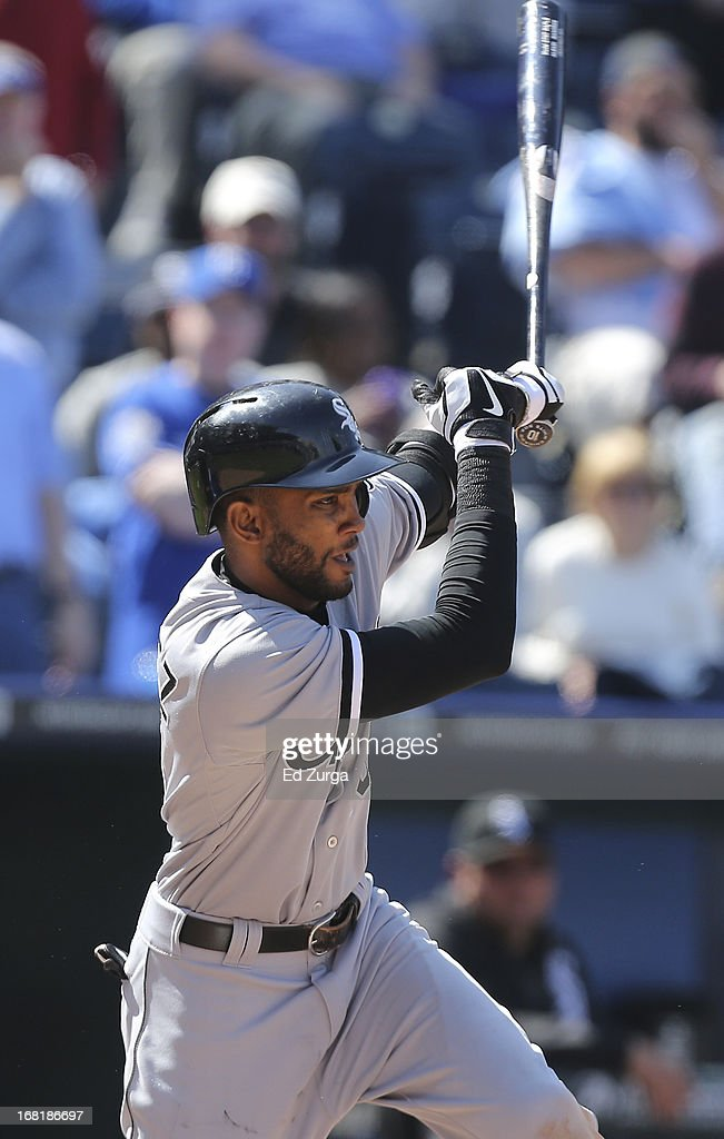 <a gi-track='captionPersonalityLinkClicked' href=/galleries/search?phrase=Alexei+Ramirez&family=editorial&specificpeople=690568 ng-click='$event.stopPropagation()'>Alexei Ramirez</a> #10 of the Chicago White Sox hits a RBI single against the Kansas City Royals in the ninth inning at Kauffman Stadium on May 6, 2013 in Kansas City, Missouri. The White Sox won 2-1 in 11 innings.