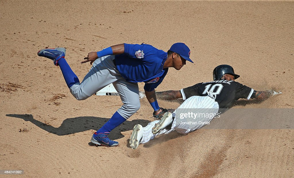 Alexei Ramirez #10 of the Chicago White Sox is caught trying to steal second base by Starlin Castro #13 of the Chicago Cubs in the 6th inning at U.S. Cellular Field on August 16, 2015 in Chicago, Illinois. The White Sox defeated the Cubs 3-1.