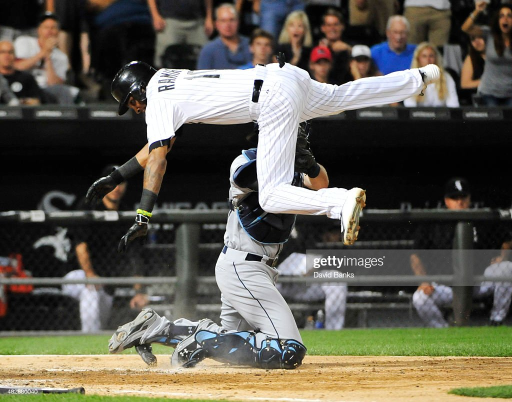 <a gi-track='captionPersonalityLinkClicked' href=/galleries/search?phrase=Alexei+Ramirez&family=editorial&specificpeople=690568 ng-click='$event.stopPropagation()'>Alexei Ramirez</a> #10 of the Chicago White Sox is tagged out by Curt Casali #19 of the Tampa Bay Rays during the ninth inning on August 3, 2015 at U.S. Cellular Field in Chicago, Illinois. The Rays defeated the White Sox 5-4.