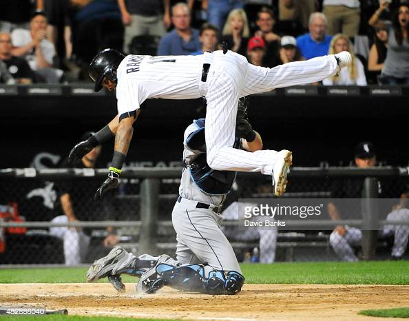 Alexei Ramirez of the Chicago White Sox is tagged out by Curt Casali of the Tampa Bay Rays during the ninth inning on August 3 2015 at US Cellular...
