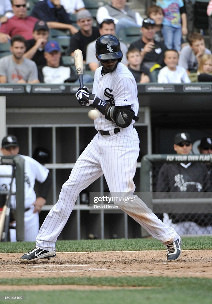 <a gi-track='captionPersonalityLinkClicked' href=/galleries/search?phrase=Alexei+Ramirez&family=editorial&specificpeople=690568 ng-click='$event.stopPropagation()'>Alexei Ramirez</a> #10 of the Chicago White Sox moves away from an inside pitch against the Cleveland Indians during the seventh inning on September 13, 2013 at U.S. Cellular Field in Chicago, Illinois.