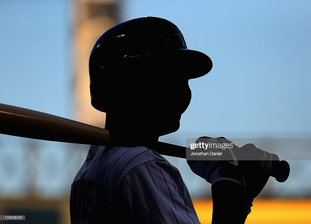 <a gi-track='captionPersonalityLinkClicked' href=/galleries/search?phrase=Alexei+Ramirez&family=editorial&specificpeople=690568 ng-click='$event.stopPropagation()'>Alexei Ramirez</a> #10 of the Chicago White Sox prepares to bat against the Oakland Athletics at U.S. Cellular Field on June 6, 2013 in Chicago, Illinois. The Athletics defeated the White Sox 5-4 in 10 innings.