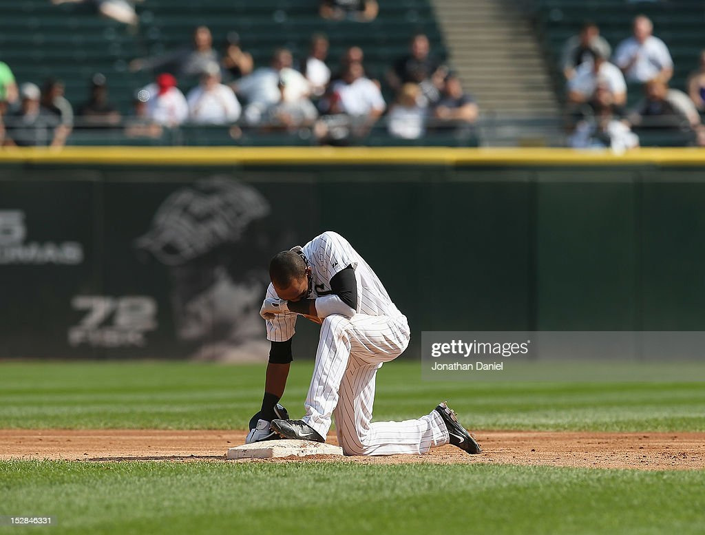 <a gi-track='captionPersonalityLinkClicked' href=/galleries/search?phrase=Alexei+Ramirez&family=editorial&specificpeople=690568 ng-click='$event.stopPropagation()'>Alexei Ramirez</a> #10 of the Chicago White Sox reacts after being thrown out at second base to end the 2nd inning against the Cleveland Indians at U.S. Cellular Field on September 25, 2012 in Chicago, Illinois. The Indians defeated the White Sox 4-3.