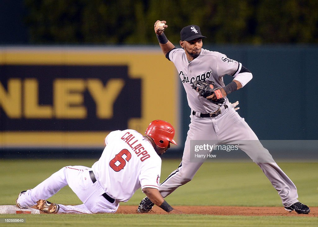 <a gi-track='captionPersonalityLinkClicked' href=/galleries/search?phrase=Alexei+Ramirez&family=editorial&specificpeople=690568 ng-click='$event.stopPropagation()'>Alexei Ramirez</a> #10 of the Chicago White Sox sidesteps the slide of <a gi-track='captionPersonalityLinkClicked' href=/galleries/search?phrase=Alberto+Callaspo&family=editorial&specificpeople=835933 ng-click='$event.stopPropagation()'>Alberto Callaspo</a> #6 of the Los Angeles Angels in an attempted double play during the second inning at Angel Stadium of Anaheim on September 21, 2012 in Anaheim, California.
