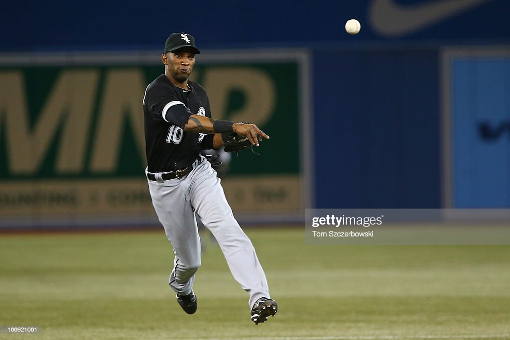 Alexei Ramirez #10 of the Chicago White Sox throws out the baserunner in the second inning during MLB game action against the Toronto Blue Jays on April 18, 2013 at Rogers Centre in Toronto, Ontario, Canada.